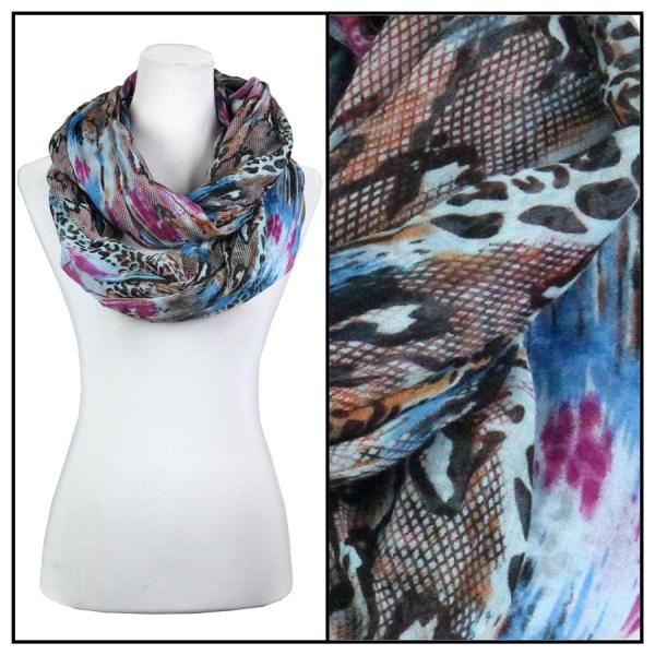 wholesale Infinity Scarves Wide - Snake Print 3062 Blue -