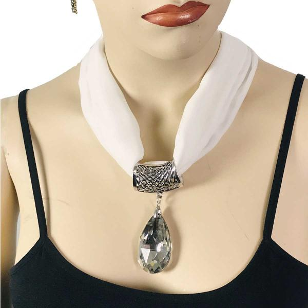 Wholesale Chiffon Magnet Necklace w/ Optional Pendant #002 White Chiffon Magnet Necklace  (Silver Magnet) w/ Pendant #075 -