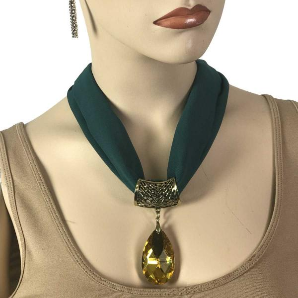 Wholesale Chiffon Magnet Necklace w/ Optional Pendant #046 Hunter Green (Bronze Magnet) w/ Pendant #561 -