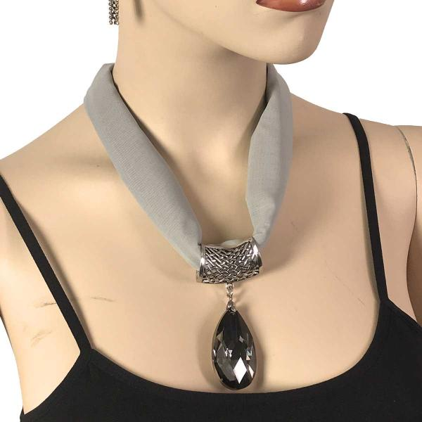 Wholesale Chiffon Magnet Necklace w/ Optional Pendant #028 Silver (Silver Magnet) w/ Pendant #131 -