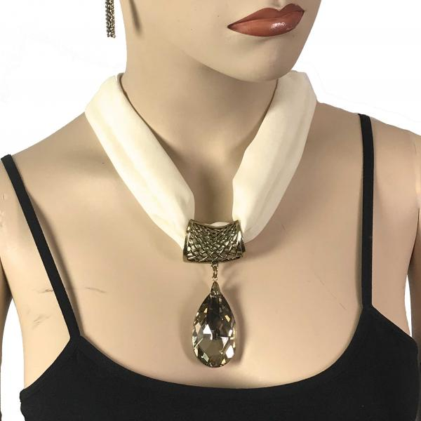 Wholesale Chiffon Magnet Necklace w/ Optional Pendant #029 Cream (Bronze Magnet) w/ Pendant #562 -
