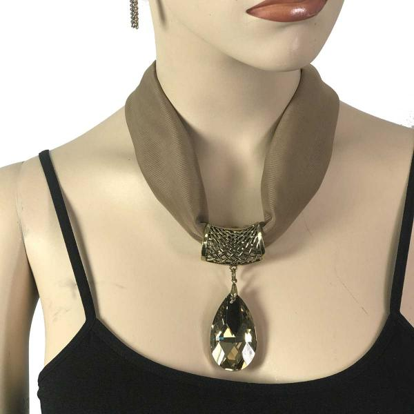 Wholesale Chiffon Magnet Necklace w/ Optional Pendant #069 Taupe (Bronze Magnet) w/ Pendant #562 -