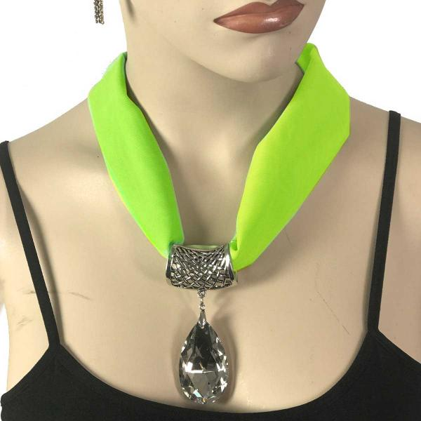 Wholesale Chiffon Magnet Necklace w/ Optional Pendant #006 Lime (Silver Magnet) w/ Pendant #075 -