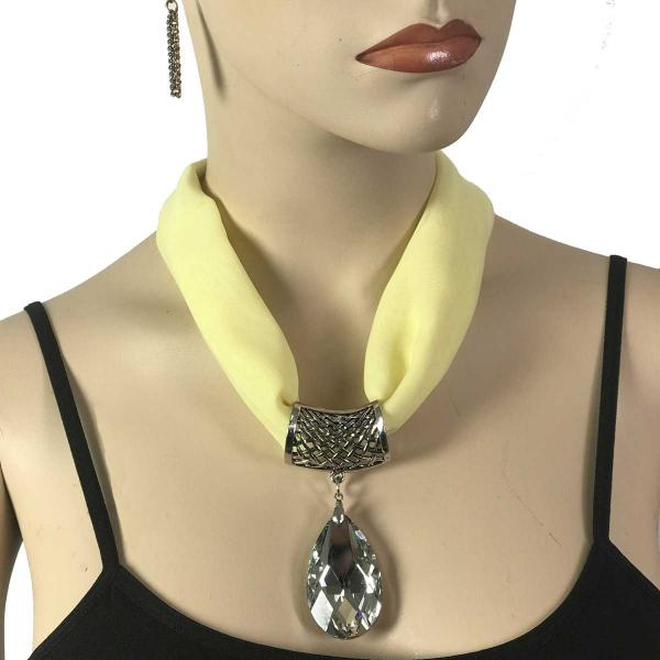 Wholesale Chiffon Magnet Necklace w/ Optional Pendant #060 Baby Yellow (Silver Magnet) w/ Pendant #075 -