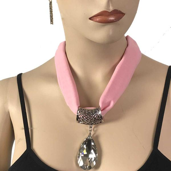 Wholesale Chiffon Magnet Necklace w/ Optional Pendant #030 Light Pink (Silver Magnet) w/ Pendant #075 -