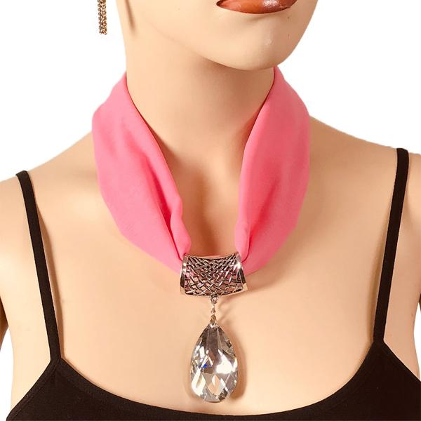 Wholesale Chiffon Magnet Necklace w/ Optional Pendant #005 Bubblegum (Silver Magnet) w/ Pendant #075 -