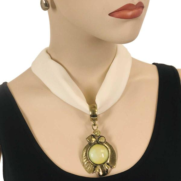 Wholesale Chiffon Magnet Necklace w/ Optional Pendant #029 Cream (Bronze Magnet) w/ Pendant #386 -