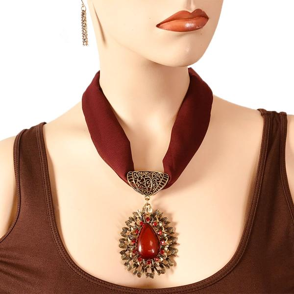 Wholesale Chiffon Magnet Necklace w/ Optional Pendant #059 Maroon (Bronze Magnet) w/ Pendant #583 -
