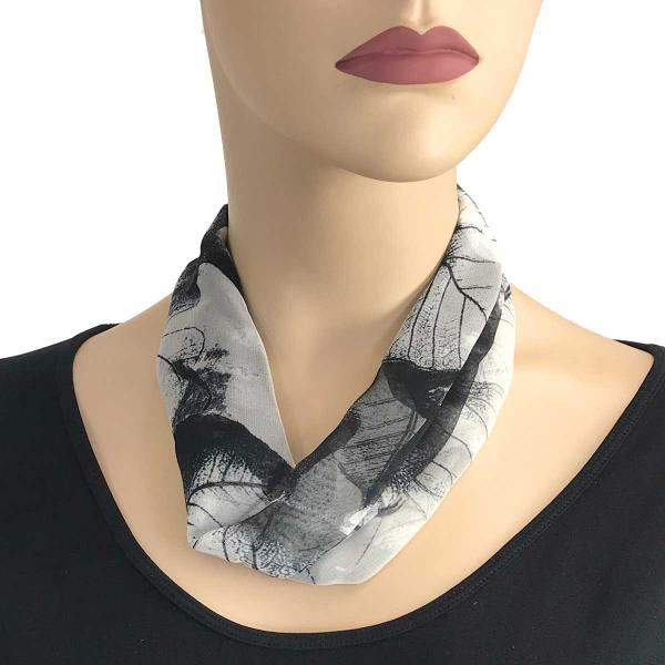 Wholesale Chiffon Magnet Necklace w/ Optional Pendant #129 Black (Leaves) (Silver Magnet) -