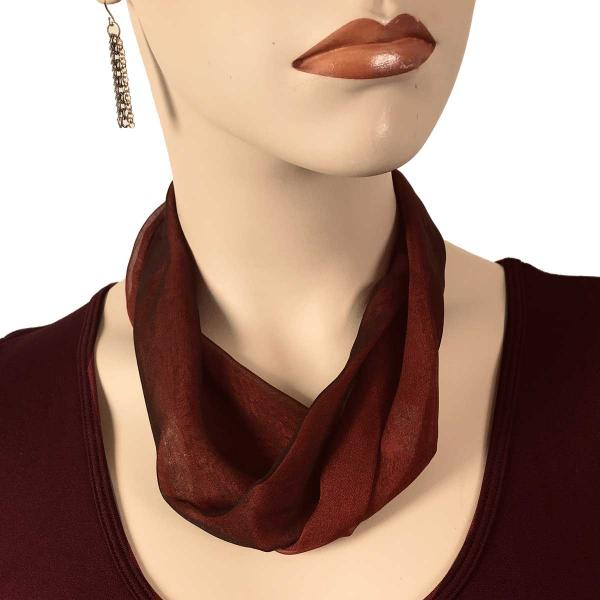 Wholesale Chiffon Magnet Necklace w/ Optional Pendant #114-13 Black-Burgundy (Silver Magnet) -