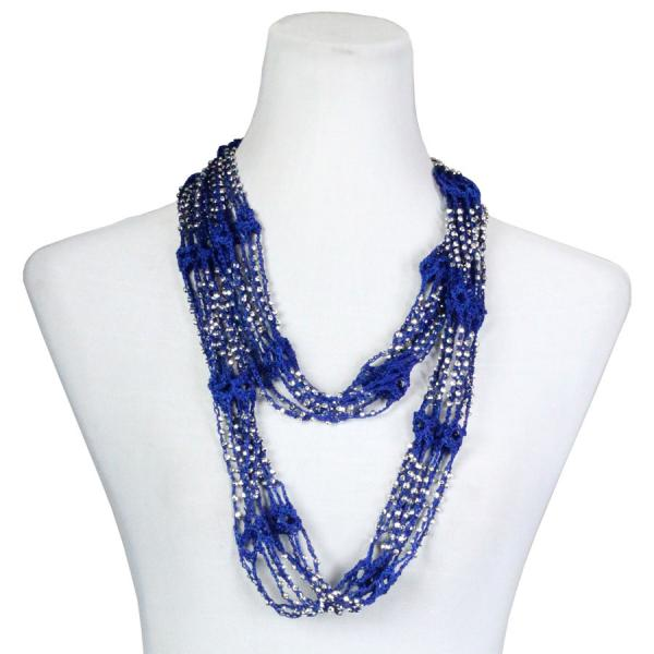 Shanghai Beaded Infinity Scarves Royal w/ Silver Beads (18) -