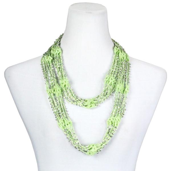 Shanghai Beaded Infinity Scarves Leaf Green w/ Silver Beads (25) -