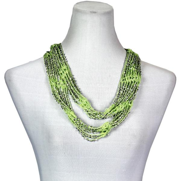 Shanghai Beaded Infinity Scarves Lime w/ Silver Beads (9) -