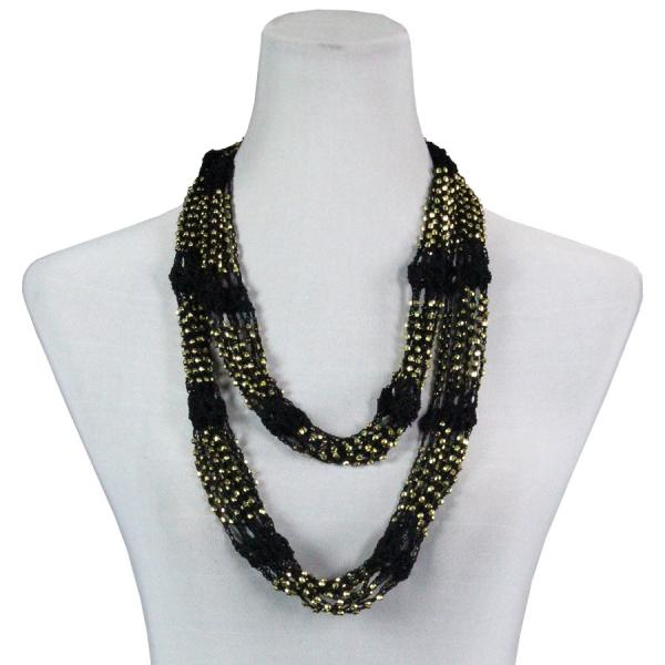 Shanghai Beaded Infinity Scarves Black w/ Gold Beads (35)Shanghai Beaded Infinity Scarve -