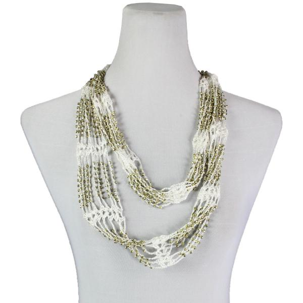 Shanghai Beaded Infinity Scarves White w/ Gold Beads -