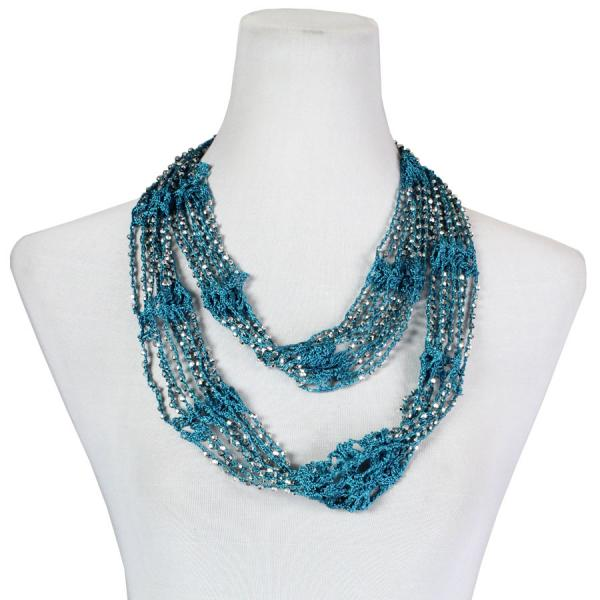Shanghai Beaded Infinity Scarves Teal w/ Silver Beads (11) -