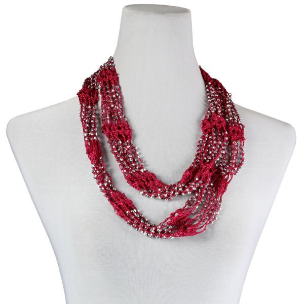 Shanghai Beaded Infinity Scarves Magenta w/ Silver Beads (10) -