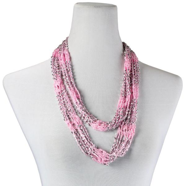 Shanghai Beaded Infinity Scarves Carnation w/ Silver Beads (27) -