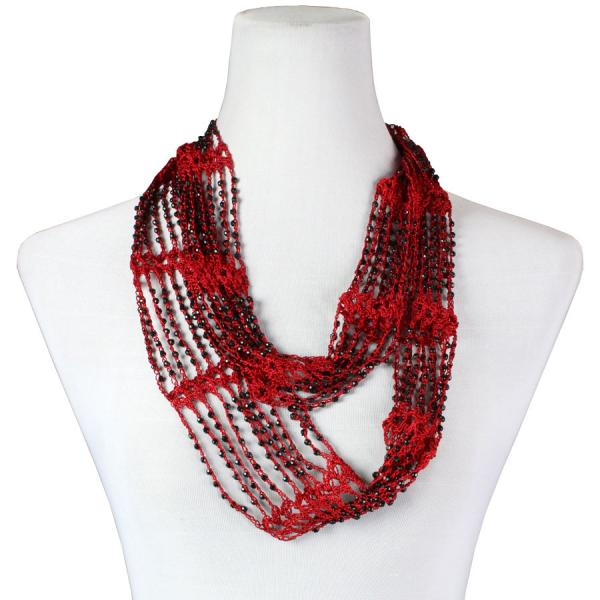 Shanghai Beaded Infinity Scarves Red w/ Black Beads -
