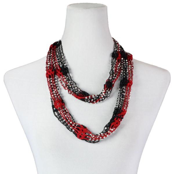 Shanghai Beaded Infinity Scarves Black-Red w/ Silver Beads -