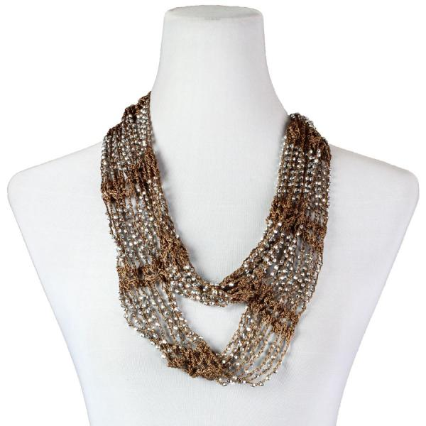Shanghai Beaded Infinity Scarves Chocolate w/ Silver Beads -