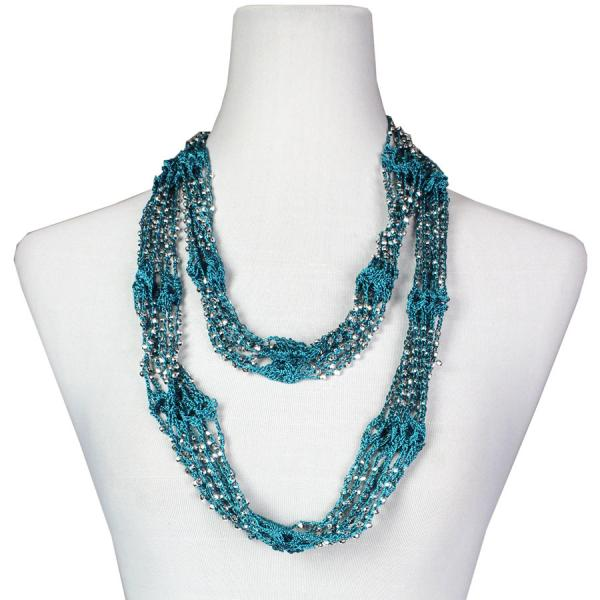 Shanghai Beaded Infinity Scarves Teal Blue w/ Silver Beads -