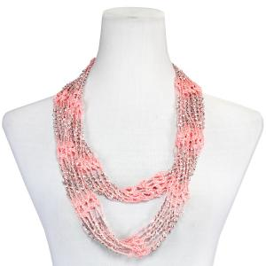 Wholesale  Salmon Mousse w/ Silver Beads (13)Shanghai Beaded Infinity Scarve -