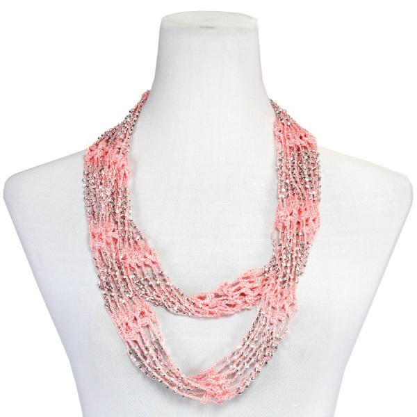 Shanghai Beaded Infinity Scarves Salmon Mousse w/ Silver Beads (13)Shanghai Beaded Infinity Scarve -