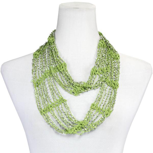 Shanghai Beaded Infinity Scarves Olive w/ Silver Beads -
