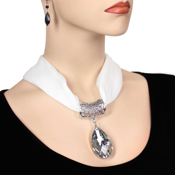 wholesale Satin Magnet Necklace with Optional Pendant #020 White (Silver Magnet) w/ Pendant #075 -