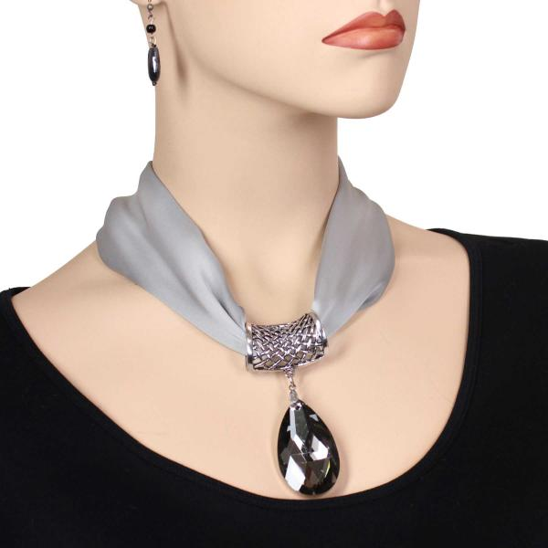 wholesale Satin Magnet Necklace with Optional Pendant #002 Silver (Silver Magnet) w/ Pendant #131 -