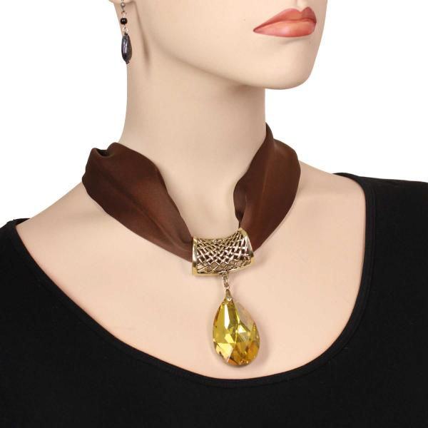 wholesale Satin Magnet Necklace with Optional Pendant #003 Brown (Bronze Magnet) w/ Pendant #561 -