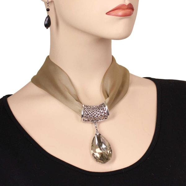 wholesale Satin Magnet Necklace with Optional Pendant #004 Taupe (Silver Magnet) w/ Pendant #562 -