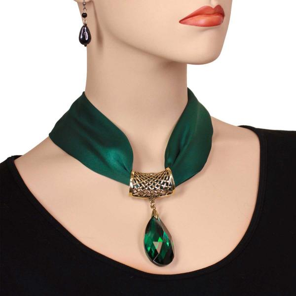 wholesale Satin Magnet Necklace with Optional Pendant #006 Dark Green (Bronze Magnet) w/ Pendant #567 -
