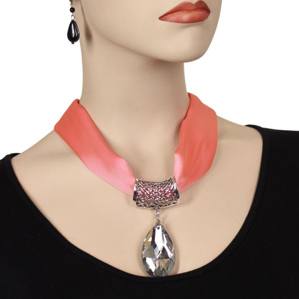 wholesale Satin Magnet Necklace with Optional Pendant #007 Salmon Mousse (Silver Magnet) w/ Pendant #075 -