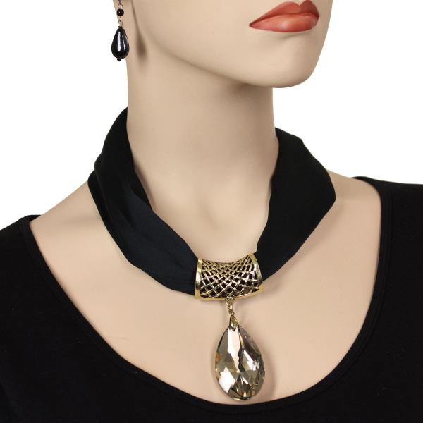 wholesale Satin Magnet Necklace with Optional Pendant #011 Black (Bronze Magnet) w/ Pendant #566 -