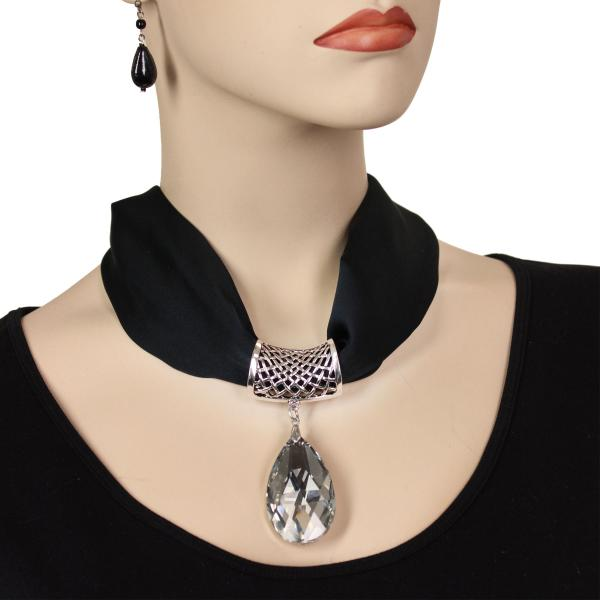 wholesale Satin Magnet Necklace with Optional Pendant #011 Black (Silver Magnet) w/ Pendant #075 -