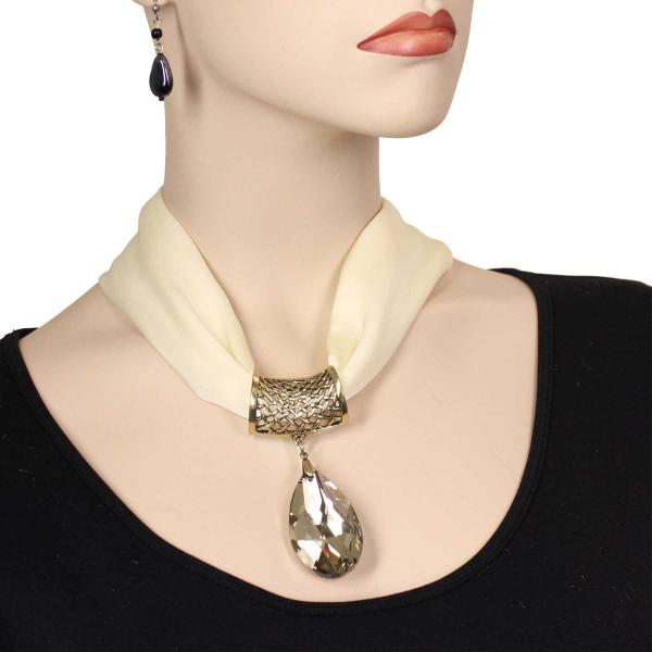wholesale Satin Magnet Necklace with Optional Pendant #014 Cream (Bronze Magnet) w/ Pendant #562 -