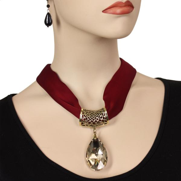 wholesale Satin Magnet Necklace with Optional Pendant #015 Merlot (Bronze Magnet) w/ Pendant #562 -