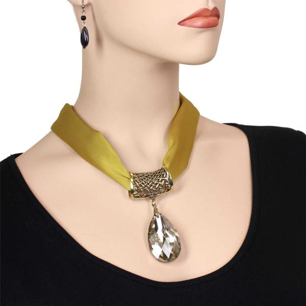 wholesale Satin Magnet Necklace with Optional Pendant #018 Olive (Bronze Magnet) w/ Pendant #562 -