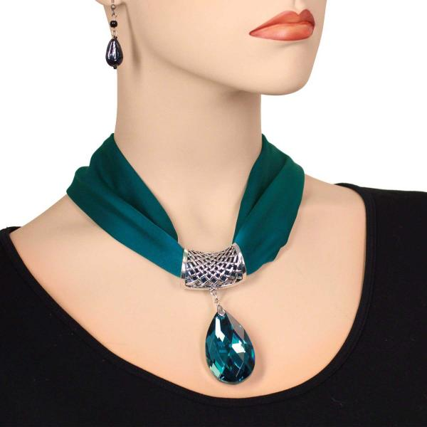 wholesale Satin Magnet Necklace with Optional Pendant #025 Dark Teal (Silver Magnet) w/ Pendant #568 -