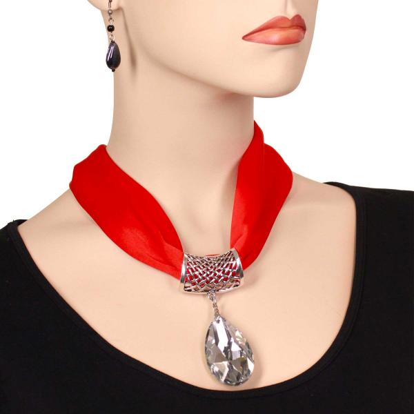 wholesale Satin Magnet Necklace with Optional Pendant #028 Red (Silver Magnet) w/ Pendant #075 -