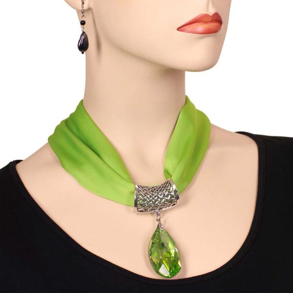 wholesale Satin Magnet Necklace with Optional Pendant #041 Leaf Green (Silver Magnet) w/ Pendant #569 -