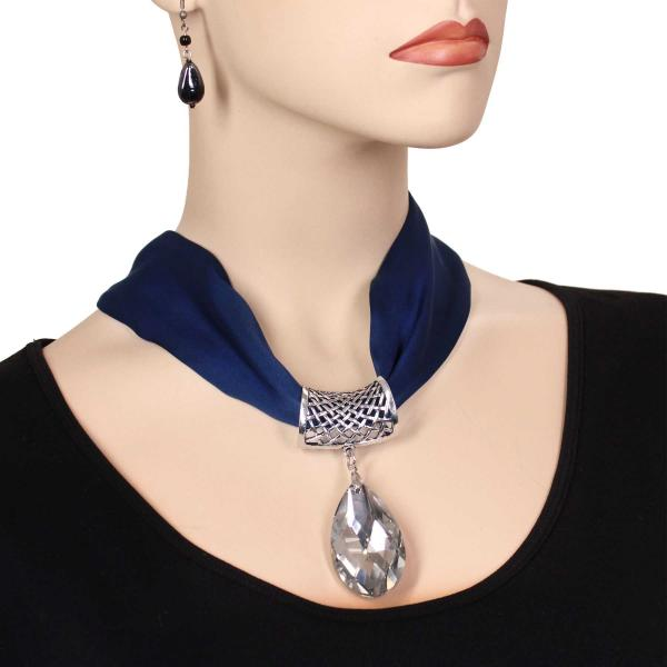 wholesale Satin Magnet Necklace with Optional Pendant #001 Navy (Silver Magnet) w/ Pendant #075 -