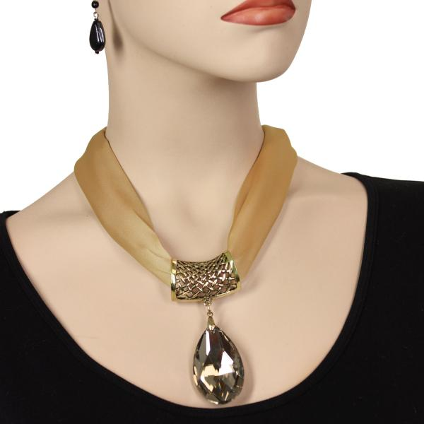 wholesale Satin Magnet Necklace with Optional Pendant #008 Beige (Bronze Magnet) w/ Pendant #562 -