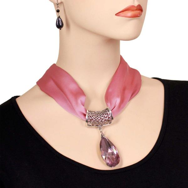 wholesale Satin Magnet Necklace with Optional Pendant #026 Dusty Rose (Silver Magnet) w/ Pendant #575 -