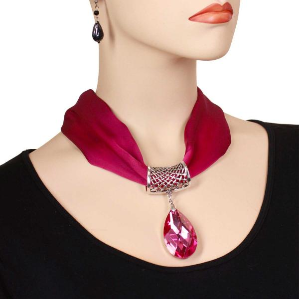 wholesale Satin Magnet Necklace with Optional Pendant #024 Orchid (Silver Magnet) w/ Pendant #611 -