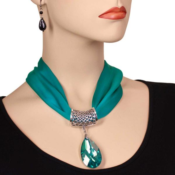wholesale Satin Magnet Necklace with Optional Pendant #035 Teal Green (Silver Magnet) w/ Pendant #573 -