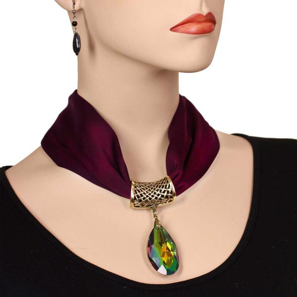 wholesale Satin Magnet Necklace with Optional Pendant #037 Eggplant (Bronze Magnet) w/ Pendant #572 -