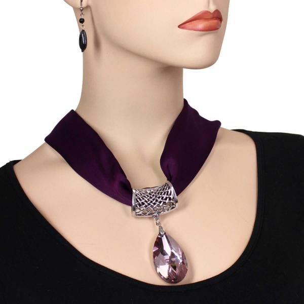wholesale Satin Magnet Necklace with Optional Pendant #037 Eggplant (Silver Magnet) w/ Pendant #575 -